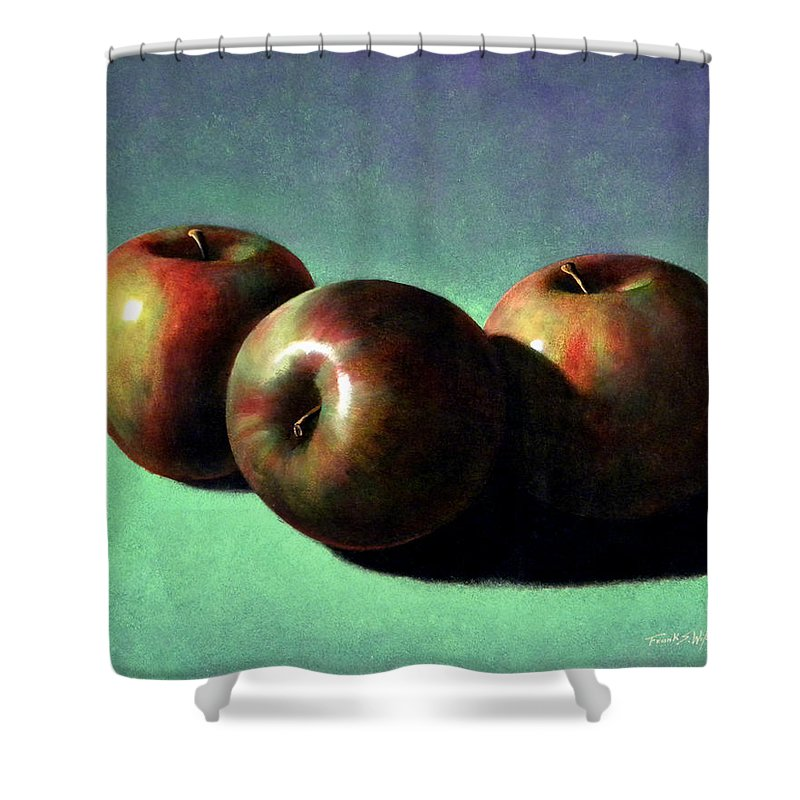 Still Life Shower Curtain featuring the painting Fuji Apples by Frank Wilson