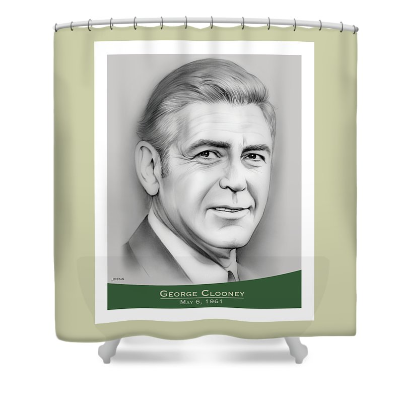 George Clooney Shower Curtain featuring the drawing George Clooney birthday by Greg Joens