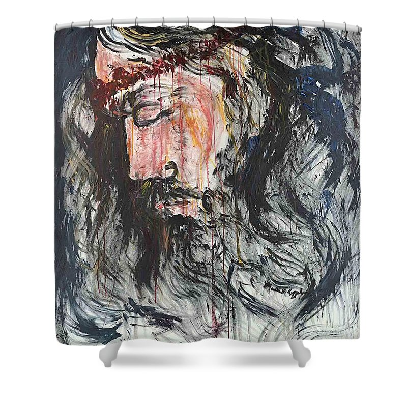 Jesus Shower Curtain featuring the painting Gethsemane to Golgotha by Nadine Rippelmeyer