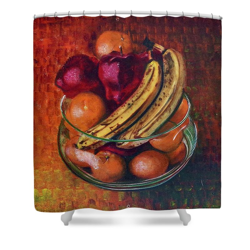Oil Painting On Canvas Shower Curtain featuring the painting Glass Bowl Of Fruit by Sean Connolly