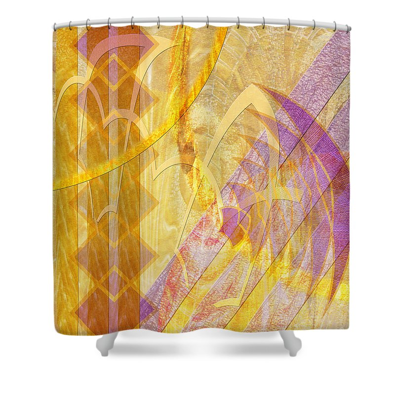 Gold Fusion Shower Curtain featuring the digital art Gold Fusion by John Robert Beck