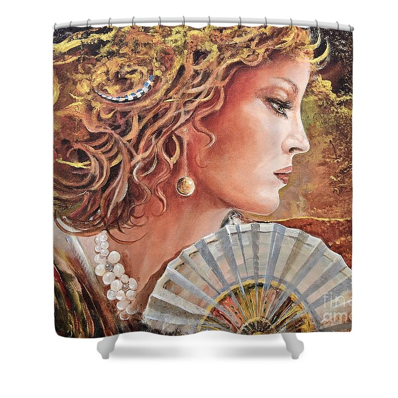 Female Portrait Shower Curtain featuring the painting Golden Wood by Sinisa Saratlic