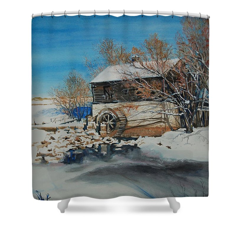 Mill Shower Curtain featuring the painting Grants Old Mill by Susan Moore