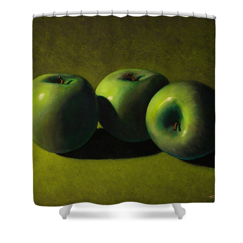 Still Life Shower Curtain featuring the painting Green Apples by Frank Wilson