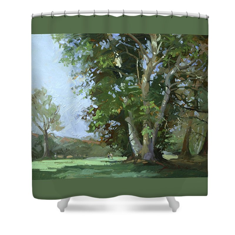 Golf Courses Shower Curtain featuring the painting Guardian of the Green by Betty Jean Billups