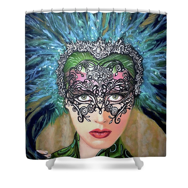Party Shower Curtain featuring the painting Guess by Jose Manuel Abraham
