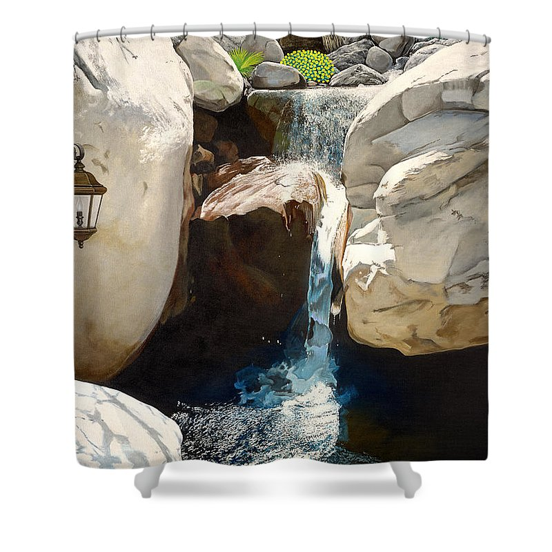 Landscape Shower Curtain featuring the painting Guiding Light by Snake Jagger
