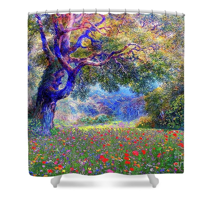 Landscape Shower Curtain featuring the painting Happiness Blooming by Jane Small