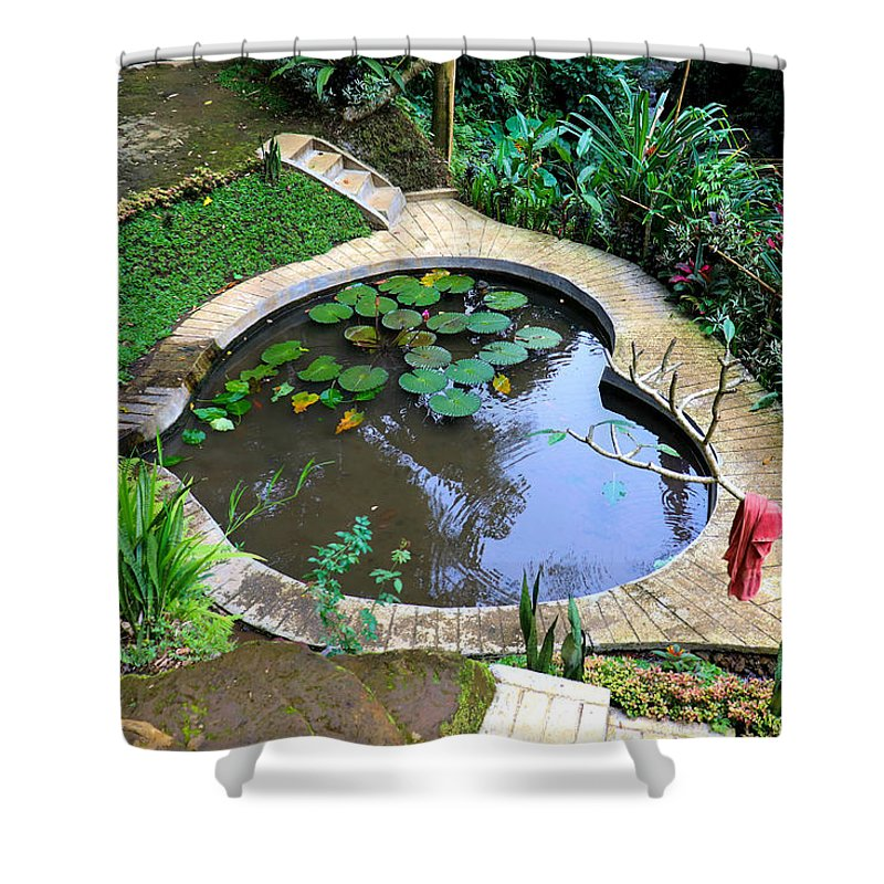 Heart Shower Curtain featuring the digital art Heart-shaped pond with water lilies by Worldvibes1