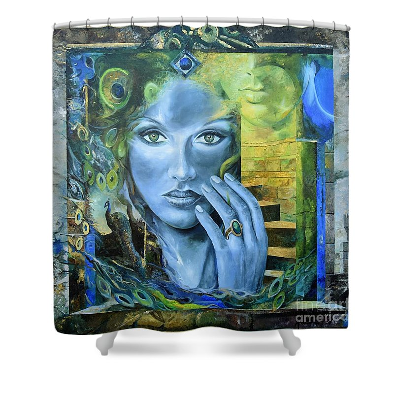 Portrait Shower Curtain featuring the painting Heavenly Garden by Sinisa Saratlic