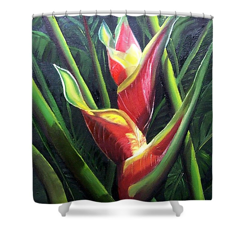 Tropical Floral Flower Heliconia Caribbean Painting Tropical Painting Botanical Painting Shower Curtain featuring the painting Heliconia by Karin Dawn Kelshall- Best