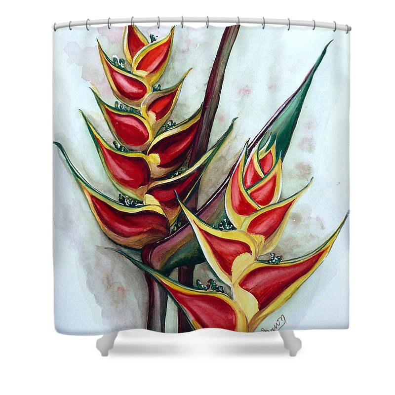 Caribbean Painting Flower Painting Floral Painting Heliconia Painting Original Watercolor Painting Of Heliconia Bloom  Trinidad And Tobago Painting Botanical Painting Shower Curtain featuring the painting Heliconia Tropicana Trinidad by Karin Dawn Kelshall- Best
