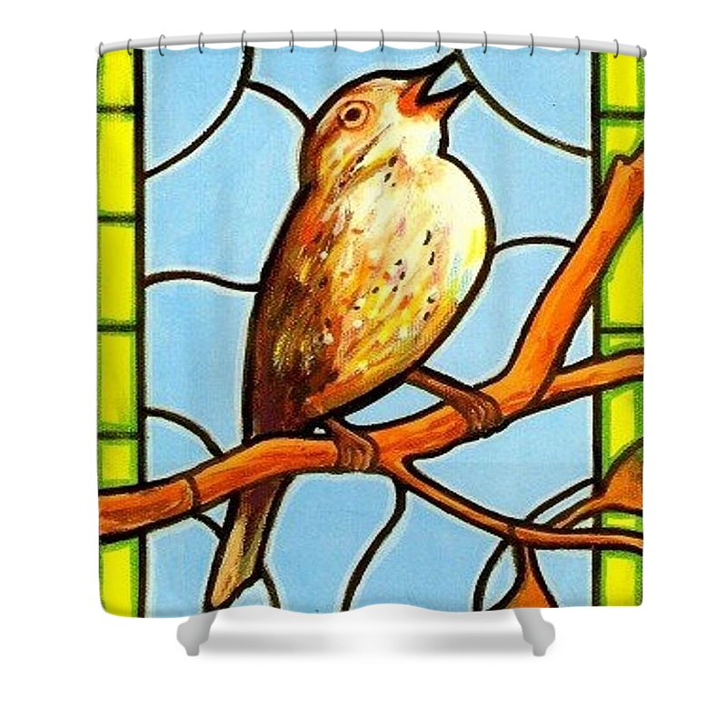Birds Shower Curtain featuring the painting His Eye Is On the Sparrow by Jim Harris