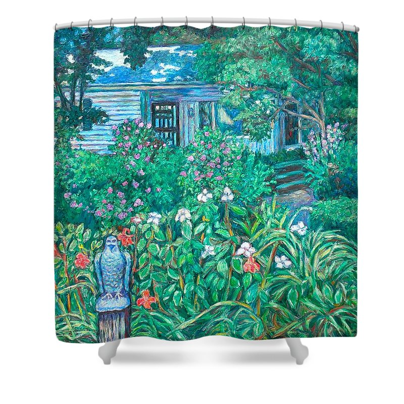 Landscape Shower Curtain featuring the painting House on Chesterbrook Road in McLean by Kendall Kessler
