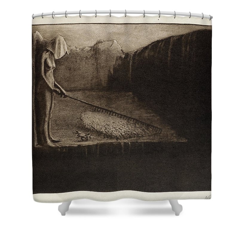 Alfred Kubin Shower Curtain featuring the painting Human Fate, 1903 by Alfred Kubin