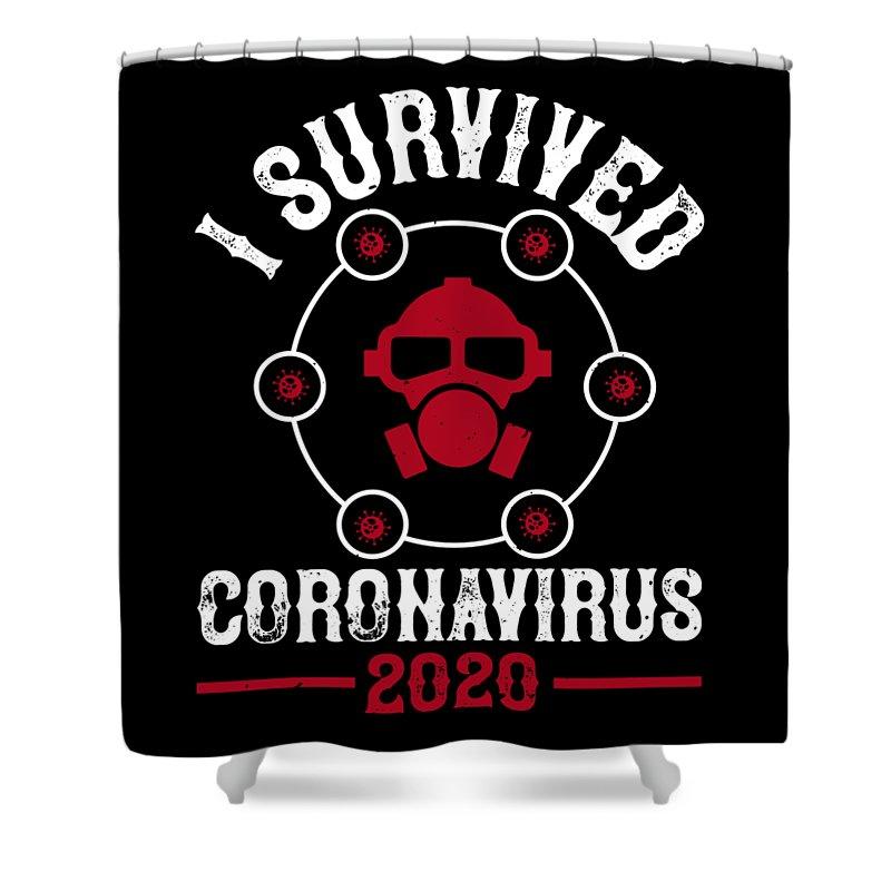 Sarcastic Shower Curtain featuring the digital art I survived coronavirus 2020 by Jacob Zelazny