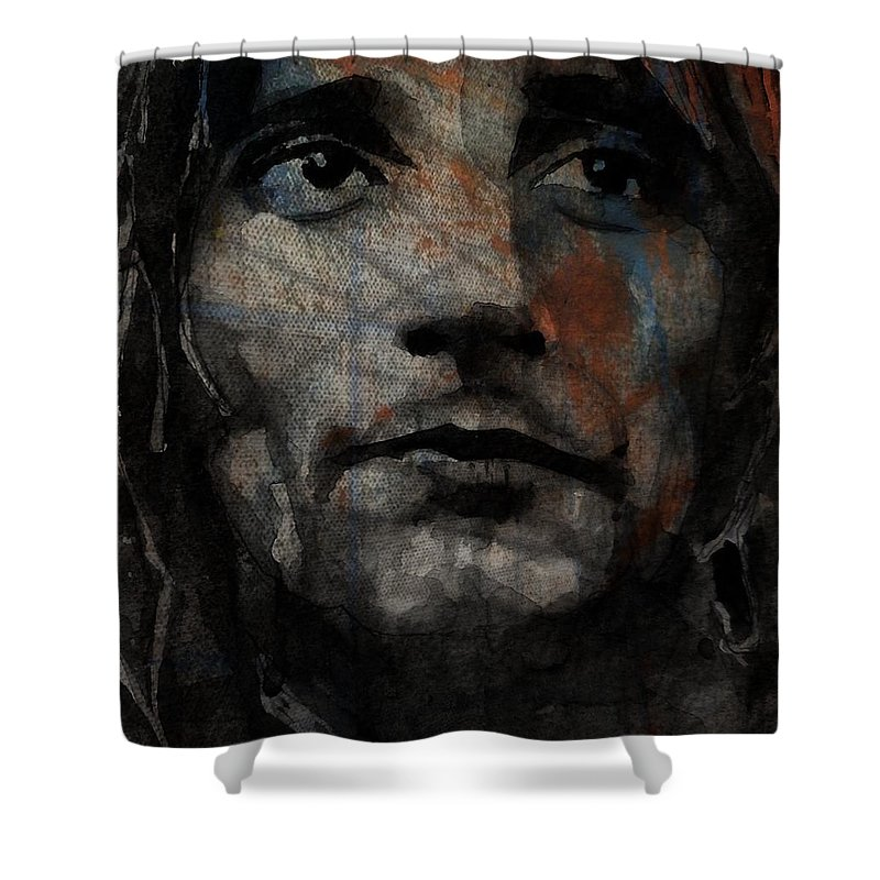 Rod Stewart Shower Curtain featuring the painting I Was Only Joking by Paul Lovering