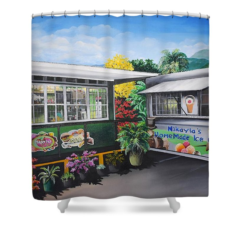 Houses Shower Curtain featuring the painting Ice Cream Parlor by Karin Dawn Kelshall- Best