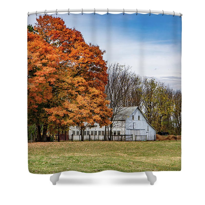 Landscape Shower Curtain featuring the photograph Indiana Barn #122 by Scott Smith