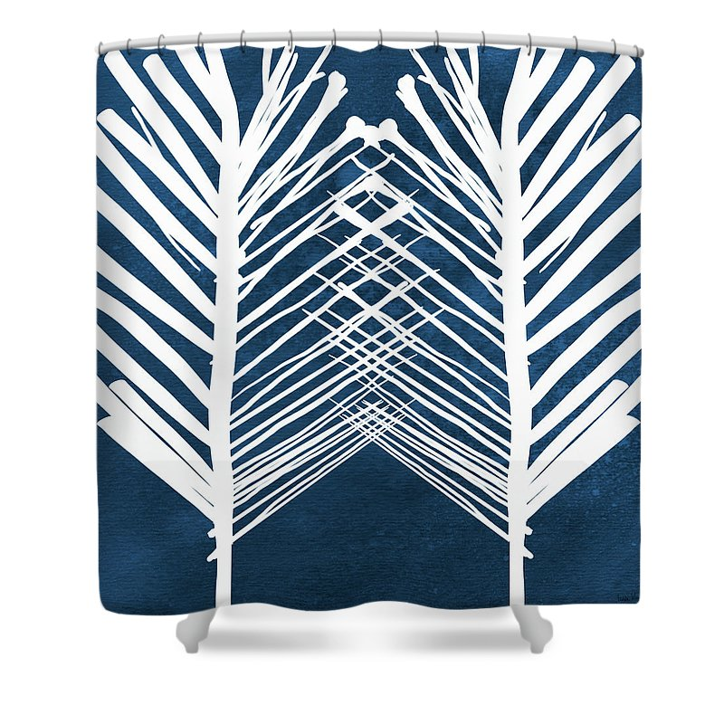Leaves Shower Curtain featuring the painting Indigo and White Leaves- Abstract Art by Linda Woods