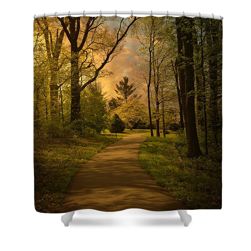 Sunset Shower Curtain featuring the photograph Into The Setting Sun by Tom Mc Nemar