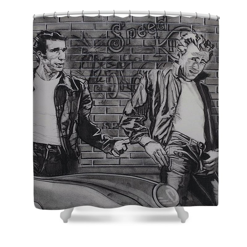 Charcoal On Paper Shower Curtain featuring the drawing James Dean Meets The Fonz by Sean Connolly