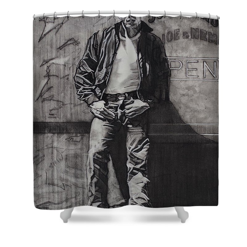 Charcoal On Paper Shower Curtain featuring the drawing James Dean by Sean Connolly