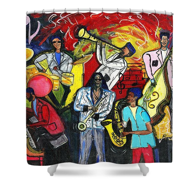 Everett Spruill Shower Curtain featuring the painting Jazz Abstracts by Everett Spruill