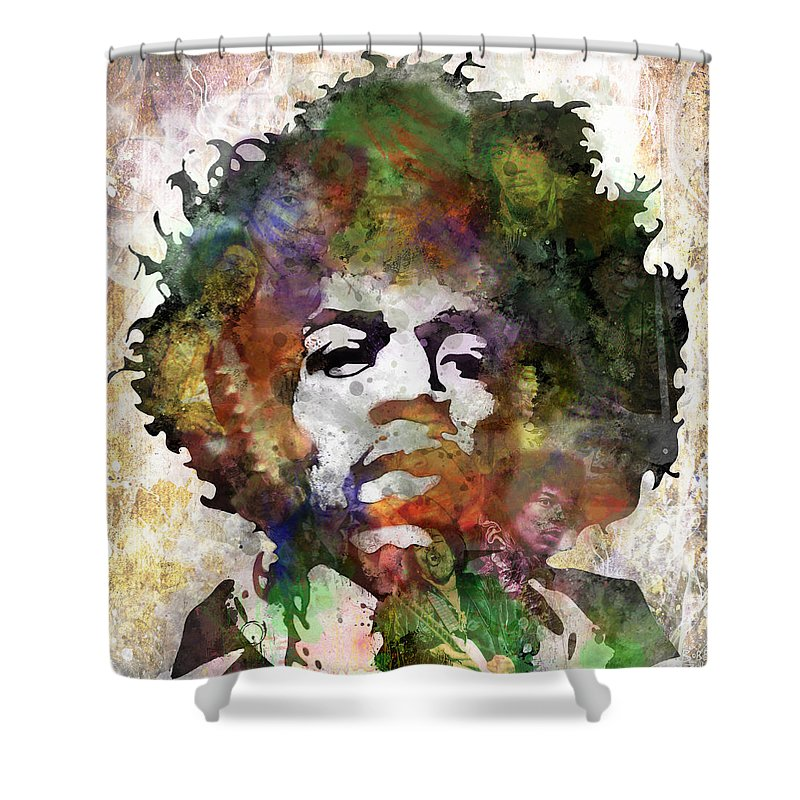 Rock And Roll Jimi Hendrix Music Shower Curtains