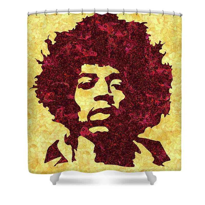 Jimi Hendrix Print Shower Curtain featuring the mixed media Jimi Hendrix Print, Jimi Hendrix Poster, Rock Music Lovers Gift by Irina Pospelova