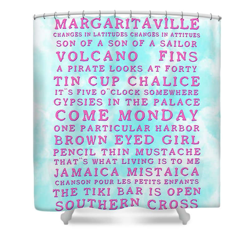 Jimmy Buffett Shower Curtain featuring the photograph Jimmy Buffett Concert Set List Old Style Embossed Pink Font On Caribbean Blue Watercolor by John Stephens