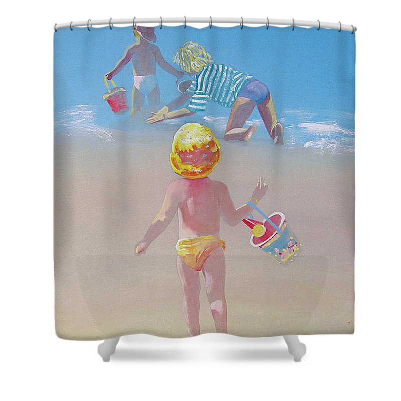 Family Shower Curtain featuring the painting Joining The Fun by Charles Stuart