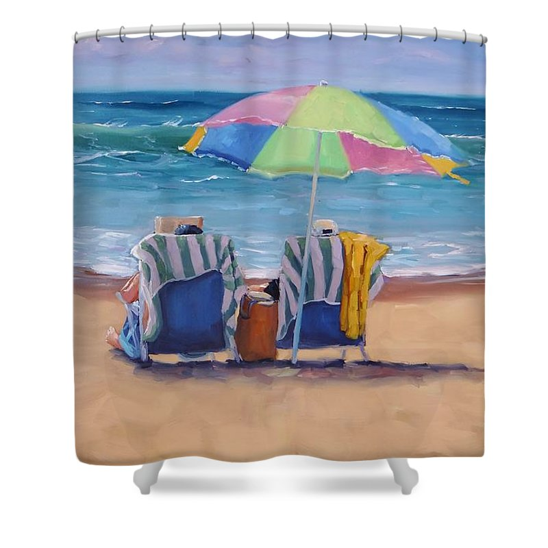 Laura Zanghetti Shower Curtain featuring the painting Just Leave a Message by Laura Lee Zanghetti