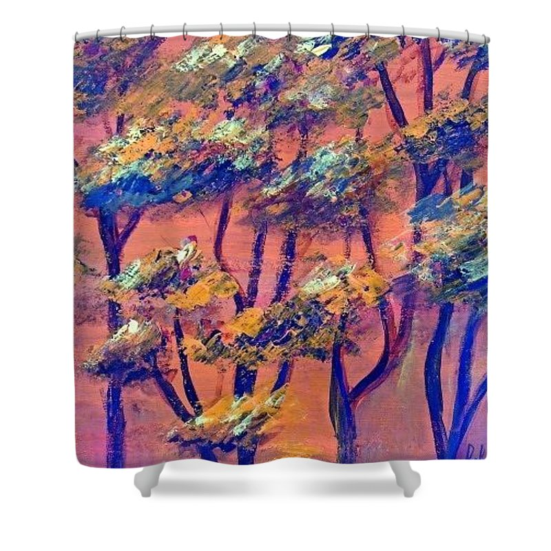Orange Shower Curtain featuring the painting Just rees by Carol P Kingsley
