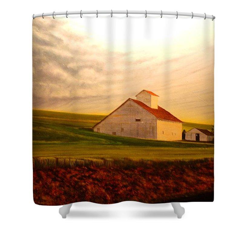Palouse Shower Curtain featuring the painting Kamiak Homestead by Leonard Heid
