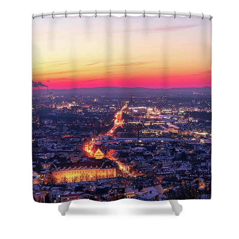 Karlsruhe Shower Curtain featuring the photograph Karlsruhe in winter at sunset by Hannes Roeckel