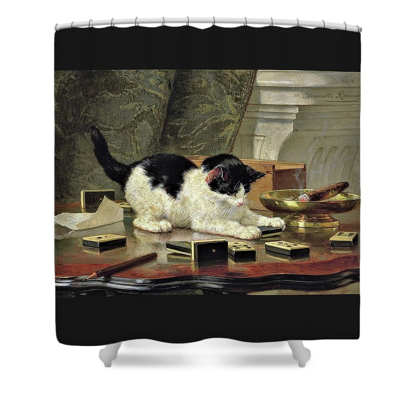 Kitten's Game Shower Curtain featuring the painting Kitten's Game - Digital Remastered Edition by Henriette Ronner-Knip