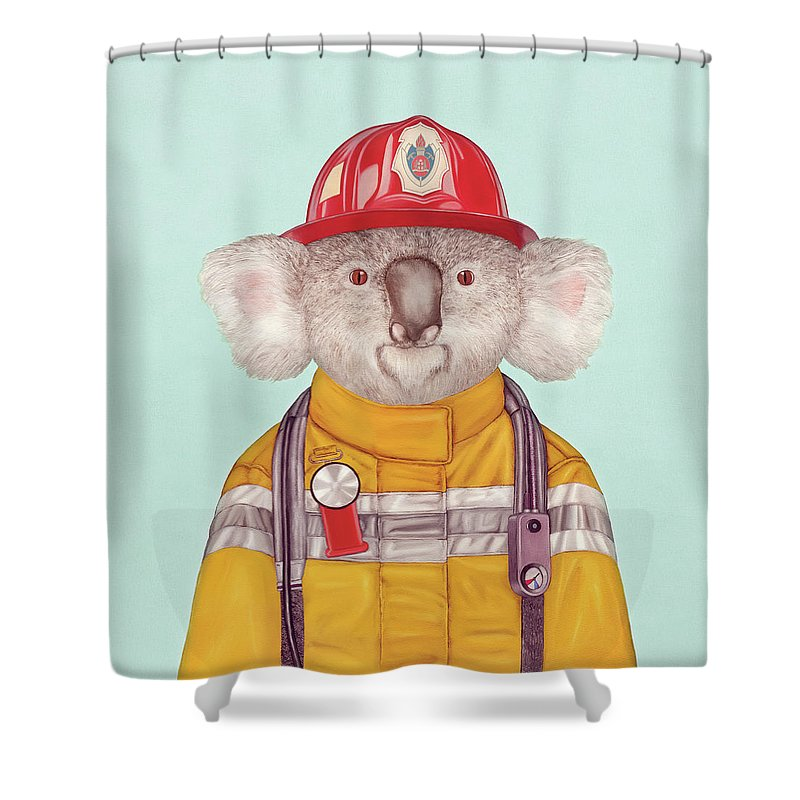 Shower Curtain featuring the painting Koala Firefighter by Animal Crew