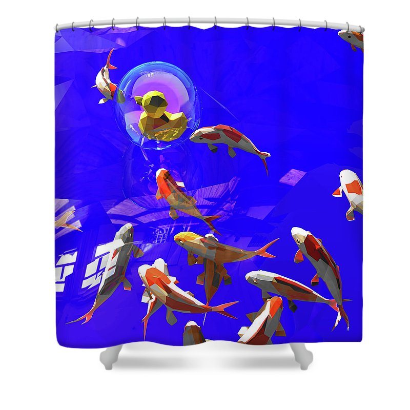 Koifish Shower Curtain featuring the digital art Koifish_and_Duckie by Heike Remy
