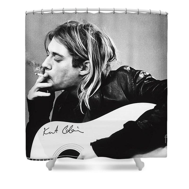 Kurt Cobain Shower Curtain featuring the photograph KURT COBAIN - SMOKING POSTER - 24x36 MUSIC GUITAR NIRVANA by Trindira A