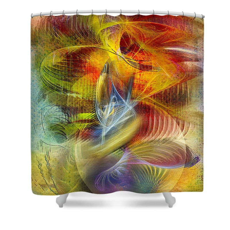 Affordable Art Shower Curtain featuring the digital art Lady And Her Shells by John Robert Beck