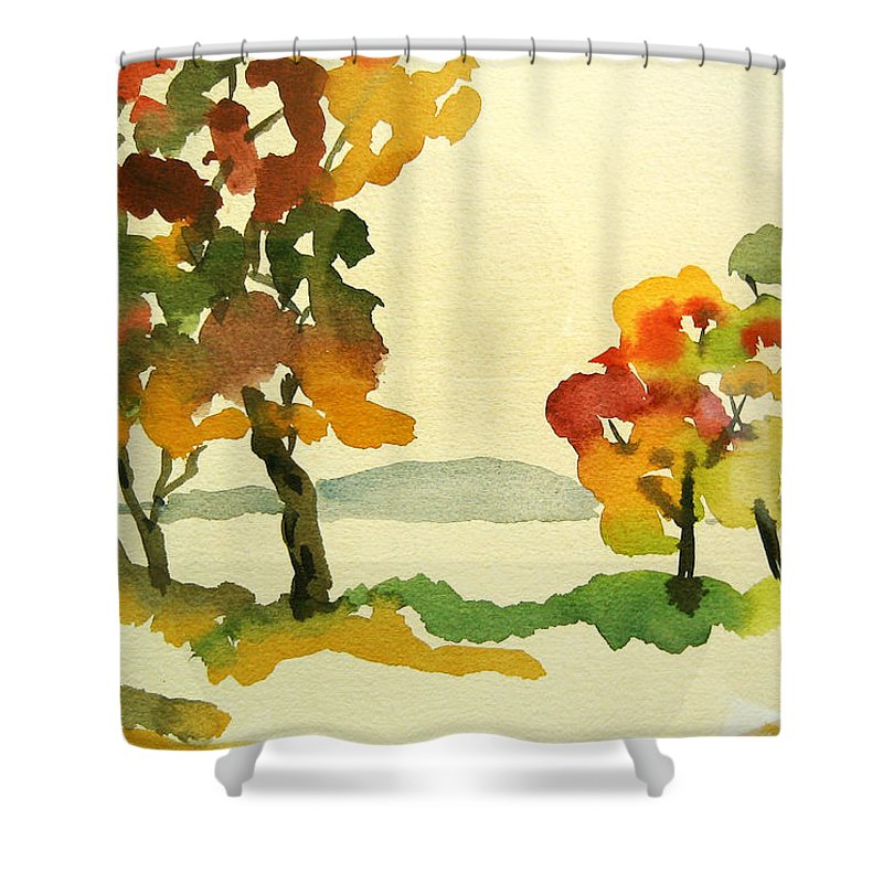 Landscape Shower Curtain featuring the painting Lake Study by Mary Ellen Mueller Legault