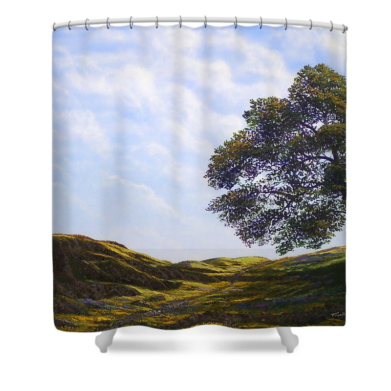 Landscape Shower Curtain featuring the painting Lava Rock And Flowers by Frank Wilson