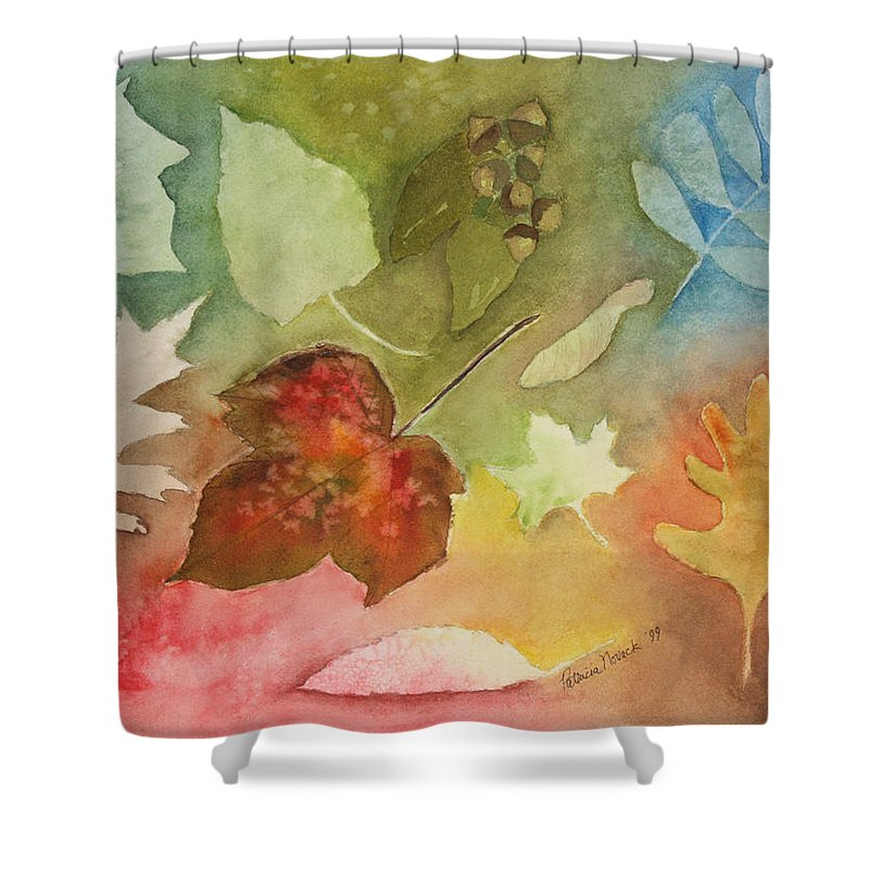 Leaves Shower Curtain featuring the painting Leaves V by Patricia Novack