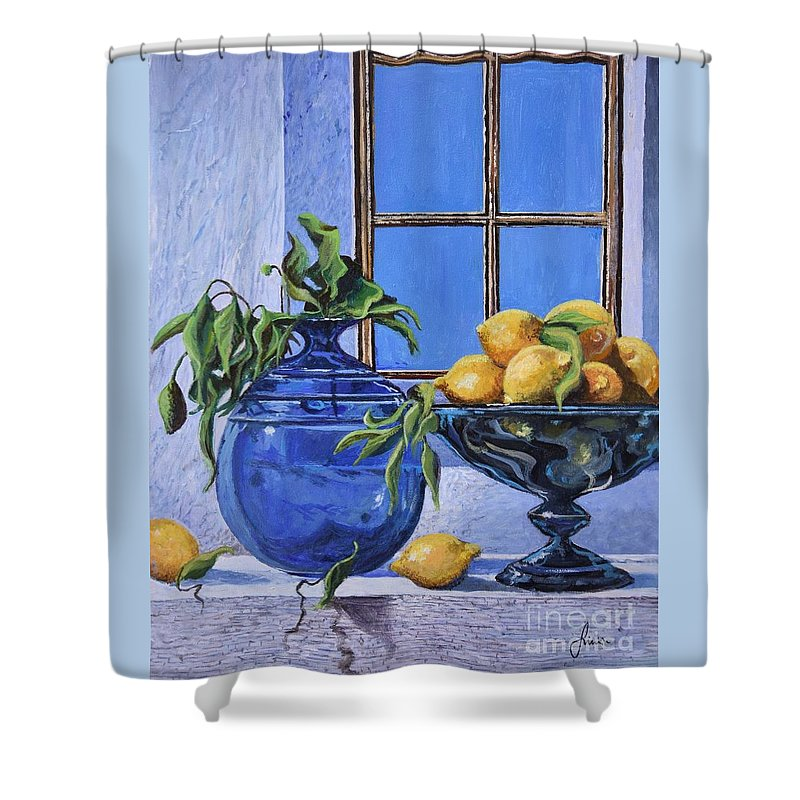 Original Painting Shower Curtain featuring the painting Lemons by Sinisa Saratlic