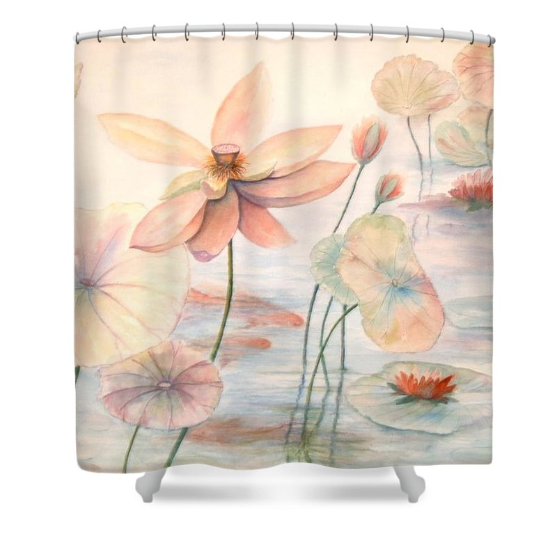 Lily Pads And Lotus Blossoms Shower Curtain featuring the painting Lily Pads by Ben Kiger