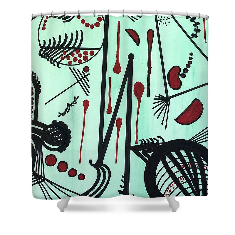 Shower Curtain featuring the painting Lines on Green by Carol P Kingsley