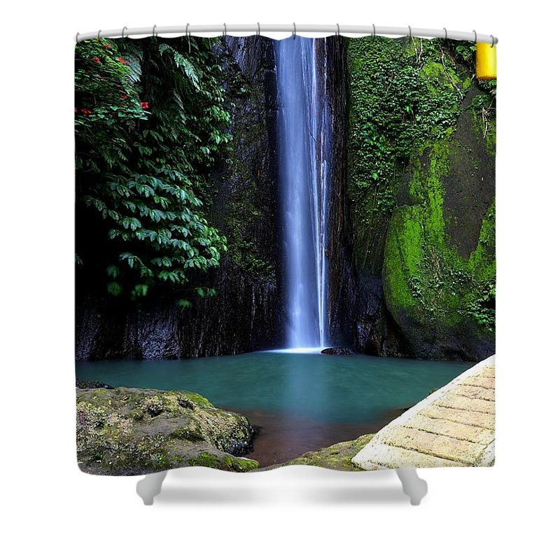 Waterfall Shower Curtain featuring the digital art Lonely waterfall by Worldvibes1