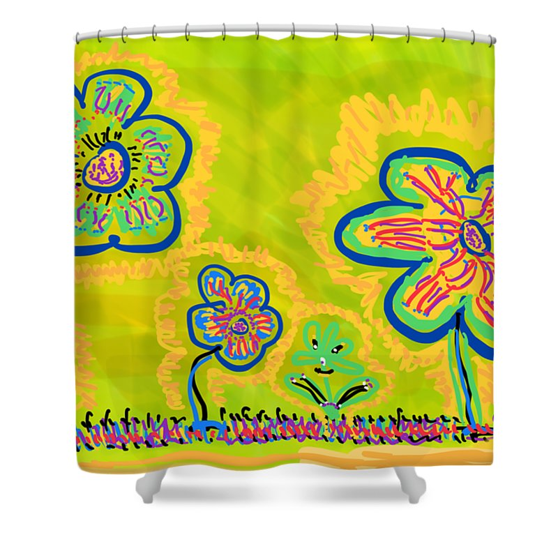 Spring Shower Curtain featuring the drawing Looking for Spring by Pam Roth O'Mara