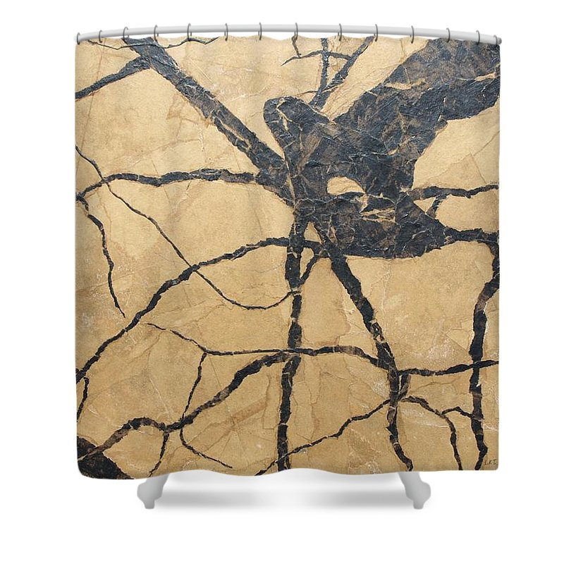 Abstract Shower Curtain featuring the painting Looking Up by Leah Tomaino